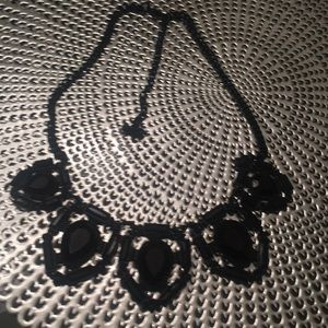 Black stone on black chain necklace